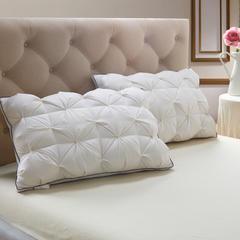 韩式扭花羽绒枕 上下绒,中间鸭毛片48*74cm白色