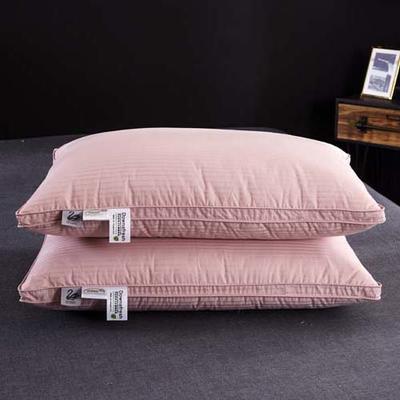 2018新款枕芯-100支缎条立体枕48*74cm 粉