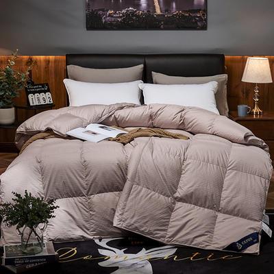 2019新款五星级酒店100全棉支贡缎95%白鹅绒被 羽绒被 200*230高分绒(5.6斤) 豆沙