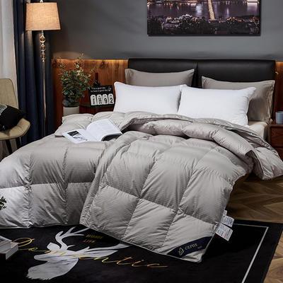 2019新款五星级酒店100全棉支贡缎95%白鹅绒被 羽绒被 200*230高分绒(5.6斤) 灰