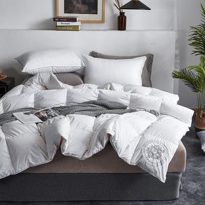 2019新款100支全棉贡缎磨毛95白鹅绒被 刺绣羽绒被 200*230高分绒(5.5斤) 白色