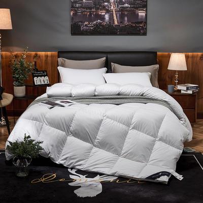 2019新款竹棉缎条提花五星级酒店羽绒被95%白鹅绒被 200*230高分绒(5.2斤) 竹棉提花-白色