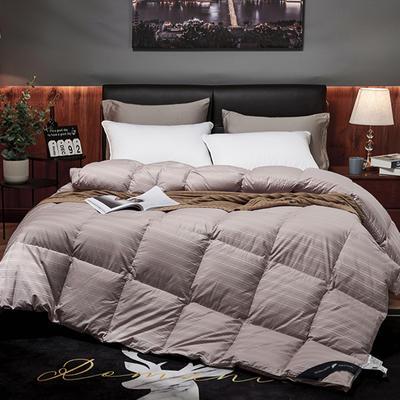 2019新款竹棉缎条提花五星级酒店羽绒被95%白鹅绒被 200*230高分绒(5.2斤) 竹棉提花-豆沙