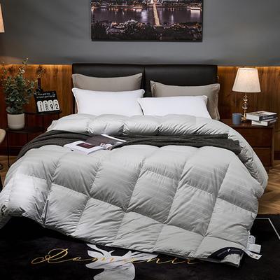 2019新款竹棉缎条提花五星级酒店羽绒被95%白鹅绒被 200*230高分绒(5.2斤) 竹棉提花- 灰色