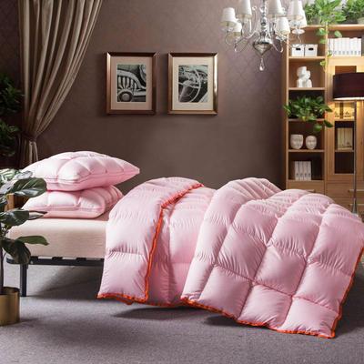 (总)2018新款-出口欧美 原单高端正品飞边白鹅绒被 被子被芯 150x200cm5斤 粉色