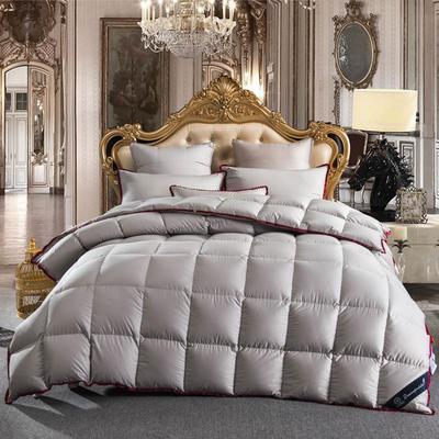 2018新款-出口欧美原单高端正品飞边白鹅绒被被子被芯  灰色款 150x200cm5斤 精品皮革包装