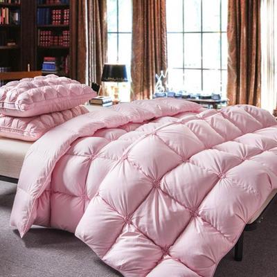 2018新款-出口欧美 原单高端正品飞边白鹅绒被 被子被芯粉色款 150x200cm5斤 爱心红皮包