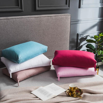 2018新款-出口欧美原单高端正品白鹅羽毛枕枕芯 低枕 冰蓝(48*74cm)