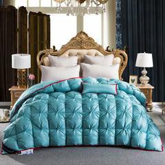 羽绒被 鹅绒被  羽绒枕 羽绒床垫 冬被 被 芯 子 出口欧美原单外观专利飞边扭花 180x220cm7斤 冰蓝