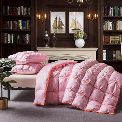 羽绒被 鹅绒被  羽绒枕 羽绒床垫 冬被 被 芯 子 出口欧美原单外观专利飞边扭花 150x200cm5斤 粉色