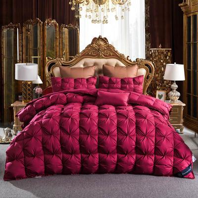 羽绒被 鹅绒被  羽绒枕 羽绒床垫 冬被 被 芯 子 出口欧美原单外观专利飞边扭花 200X230cm7斤 红色
