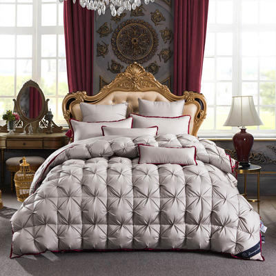羽绒被 鹅绒被  羽绒枕 羽绒床垫 冬被 被 芯 子 出口欧美原单外观专利飞边扭花 200X230cm7斤 灰色