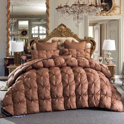 羽绒被 鹅绒被  羽绒枕 羽绒床垫 冬被 被 芯 子 出口欧美原单外观专利飞边扭花 200X230cm7斤 咖啡