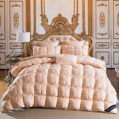 羽绒被  鹅绒被  羽绒枕  羽绒床垫 被 枕 垫 子芯 立体扭花被 180x220cm7斤 金色