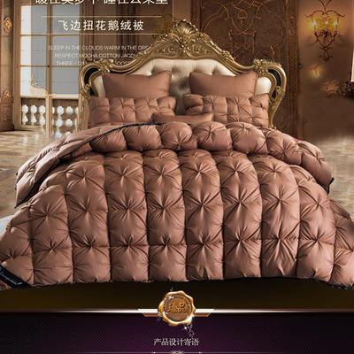 羽绒被 鹅绒被  羽绒枕 羽绒床垫 冬被 被 芯 子 出口欧美原单外观专利飞边扭花 220x240cm8斤 手提袋