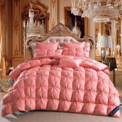 羽绒被  鹅绒被  羽绒枕  羽绒床垫 被 枕 垫 子芯 立体扭花被 180x220cm7斤 桔色