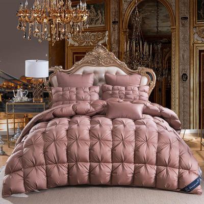 羽绒被  鹅绒被  羽绒枕  羽绒床垫 被 枕 垫 子芯 立体扭花被 180x220cm7斤 咖色