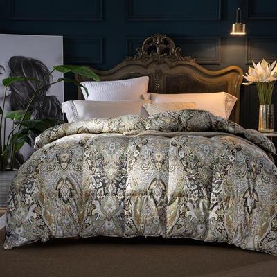羽绒被 鹅绒被 羽绒枕 羽绒床垫 被  芯 子 100支棉印花 200X230cm7斤 宠柳娇花