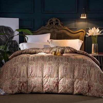 羽绒被 鹅绒被  羽绒枕 羽绒床垫 被 芯 子 垫-日本工艺100支棉印花 180x220cm7斤 姹紫嫣红