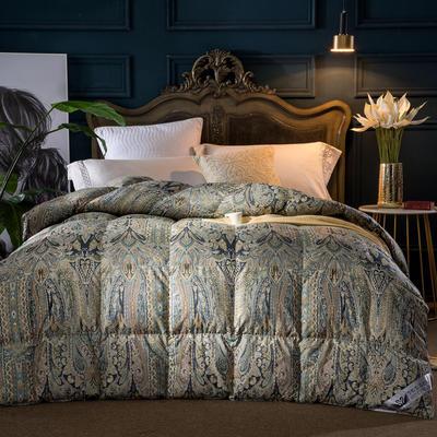 羽绒被 鹅绒被  羽绒枕 羽绒床垫 被 芯 子 垫-日本工艺100支棉印花 180x220cm7斤 五彩缤纷