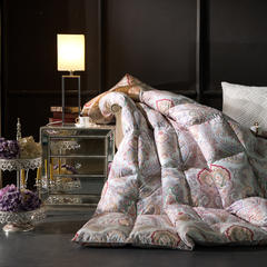 羽绒被 鹅绒被  羽绒枕 羽绒床垫 被 芯 子 垫-日本工艺100支棉印花 220x240cm8斤 手提袋