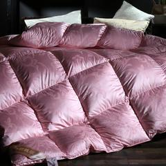 羽绒被 鹅绒被  羽绒枕  羽绒床垫  真丝锁绒绸大提花白鹅绒被被子被芯 180x220cm7斤 粉色