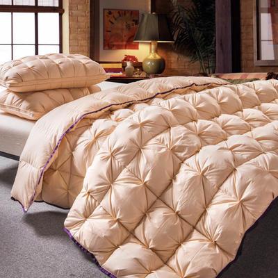 羽绒被 鹅绒被  羽绒枕 羽绒床垫 冬被 被 芯 子 出口欧美原单外观专利飞边扭花 200X230cm7斤 金色