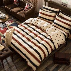 缘自淘家纺 时尚印花床上四件套 被套枕套床单式三件套四件套床品套件 1.0m(3.3英尺)床 AB裸婚