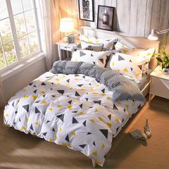 缘自淘家纺 时尚印花床上四件套 被套枕套床单式三件套四件套床品套件 1.0m(3.3英尺)床 彩色三角