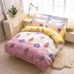 缘自淘家纺 时尚印花床上四件套 被套枕套床单式三件套四件套床品套件 1.0m(3.3英尺)床 初夏