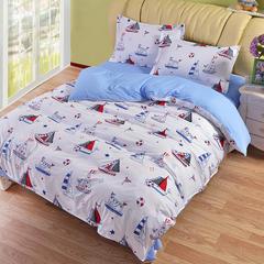缘自淘家纺 时尚印花床上四件套 被套枕套床单式三件套四件套床品套件 1.0m(3.3英尺)床 帆船
