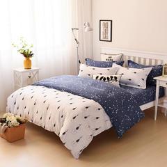 缘自淘家纺 时尚印花床上四件套 被套枕套床单式三件套四件套床品套件 1.0m(3.3英尺)床 幻影