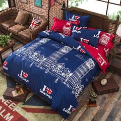 缘自淘家纺 时尚印花床上四件套 被套枕套床单式三件套四件套床品套件 1.0m(3.3英尺)床 伦敦A版