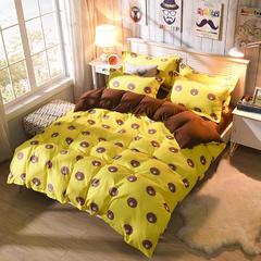 缘自淘家纺 时尚印花床上四件套 被套枕套床单式三件套四件套床品套件 1.0m(3.3英尺)床 小熊乐园