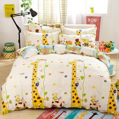 缘自淘家纺 时尚印花床上四件套 被套枕套床单式三件套四件套床品套件 1.0m(3.3英尺)床 长颈鹿
