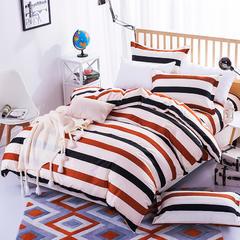 缘自淘家纺 时尚印花床上四件套 被套枕套床单式三件套四件套床品套件 1.0m(3.3英尺)床 裸婚
