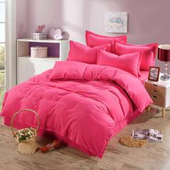 缘自淘家纺 简约时尚纯色床上四件套 被套枕套床单式三件套四件套床品套件 1.0m(3.3英尺)床 纯玫红色