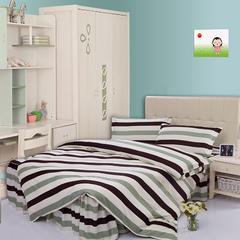 缘自淘家纺 时尚印花床上四件套 被套枕套床裙式床品套件 1.2m(4英尺)床 裸婚绿