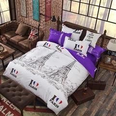 缘自淘家纺 时尚印花床上四件套 被套枕套床单式三件套四件套床品套件 1.0m(3.3英尺)床 巴黎B版