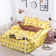 缘自淘家纺 时尚印花床上四件套 被套枕套床裙式床品套件 1.2m(4英尺)床 小熊乐园