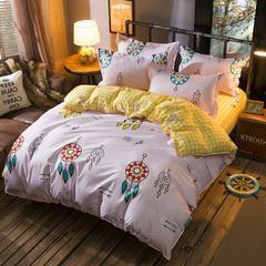 缘自淘家纺 时尚印花床上四件套 被套枕套床单式三件套四件套床品套件 1.0m(3.3英尺)床 丘比特