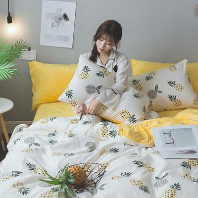 2018秋冬棉加绒四件套水晶绒法莱绒全棉卡通佩奇菠萝保暖套件 1.2m(4英尺)床 菠萝蜜