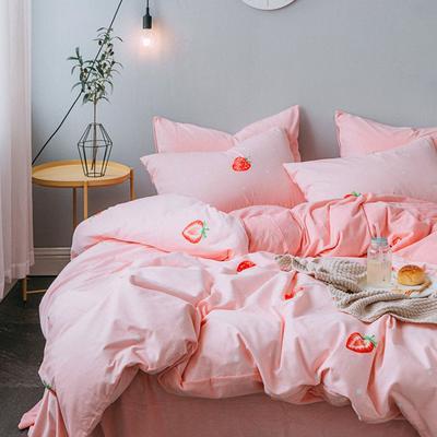 2018秋冬棉加绒四件套水晶绒法莱绒全棉卡通佩奇菠萝保暖套件 1.2m(4英尺)床 大草莓