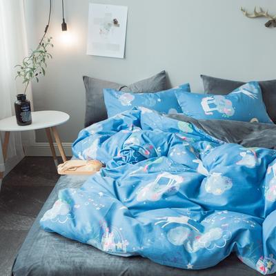 2018秋冬棉加绒四件套水晶绒法莱绒全棉卡通佩奇菠萝保暖套件 1.2m(4英尺)床 梦幻国度