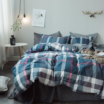 2018秋冬棉加绒四件套水晶绒法莱绒全棉卡通佩奇菠萝保暖套件 1.2m(4英尺)床 时尚之约