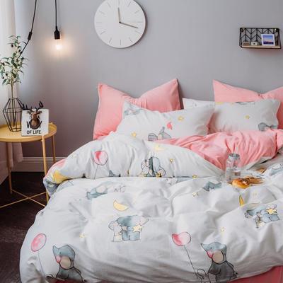 2018秋冬棉加绒四件套水晶绒法莱绒全棉卡通佩奇菠萝保暖套件 1.2m(4英尺)床 小象