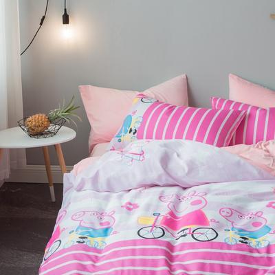 2018秋冬棉加绒四件套水晶绒法莱绒全棉卡通佩奇菠萝保暖套件 1.2m(4英尺)床 小猪佩奇-粉