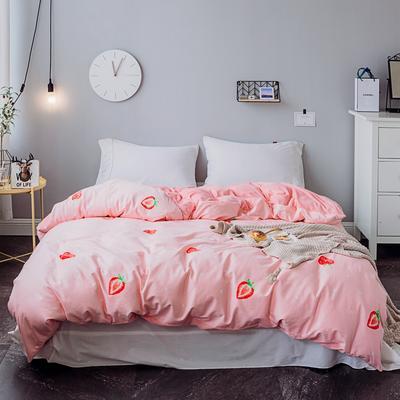 2018秋冬新品 棉加绒被套 全棉保暖水晶绒法莱绒 160x210cm 大草莓