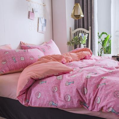 2018秋冬棉加绒四件套水晶绒法莱绒全棉卡通佩奇菠萝保暖套件 1.8m(6英尺)床 甜甜圈