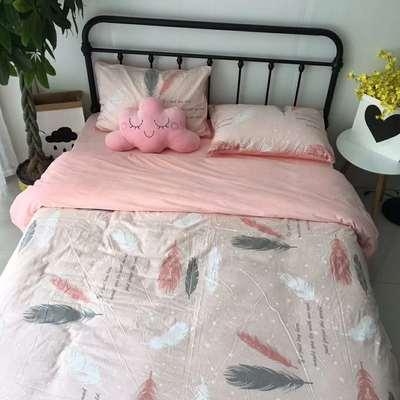 2018秋冬棉加绒四件套水晶绒法莱绒全棉卡通佩奇菠萝保暖套件 1.8m(6英尺)床 羽叶情
